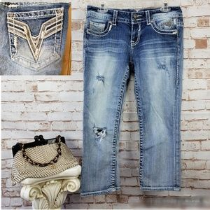 Vigoss Size 7/8 The Chelsea Distressed Capri Jeans